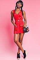 Модная Замшевая Туника-Платье с Поясом Красная S-XL