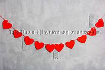 "Гирлянда ""Сердечки"" красная, 2-4 метра (ручная работа)"
