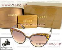 Женсчкие солнцезащитные очки Gucci кошачий глаз коричневые модель 2016 года качество