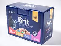 Консервы Brit Premium для кошек семейная тарелка ассорти 4 вкуса, 1,2 кг