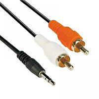Кабель-аудио сигнальный 3.5mm (папа) -> 3.5mm (папа) 5.0 m Atcom black (аналоговый стерео, никелированный конт