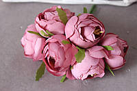 """Цветы пиона диаметр около 4 см, 30 шт/уп., """"винтажный розовый"""" на ножке оптом"""