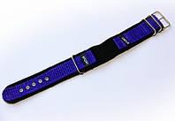 Ремінець синтетичний (капроновий) Nobrand Sport для наручних годинників з класичною застібкою, фіолетовий, 18мм