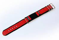 Ремешок синтетический (капроновый) Nobrand Sport для наручных часов с классической застежкой, красный, 18 мм