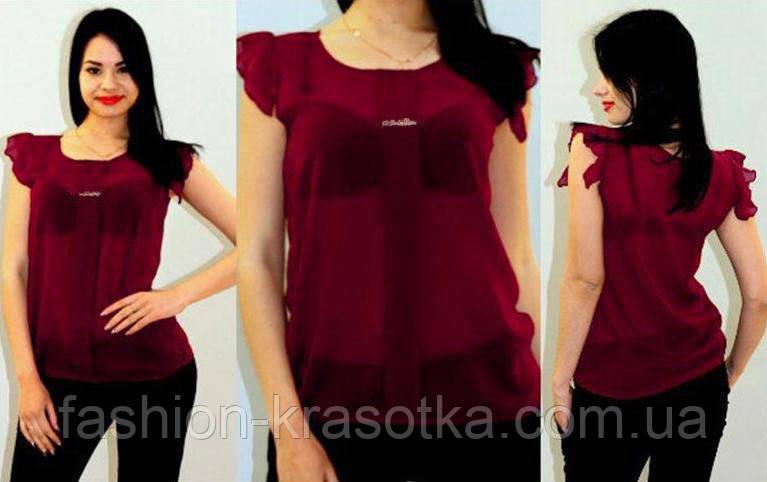 Блузка шифоновая Сьюзи - новый цвет бордо,размеры 42-46