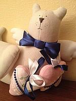 Мягкая игрушка - кошка с розовым сердечком в стиле Тильда