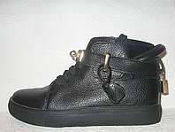 Ботиночки-сникерсы черные стильные Hermes
