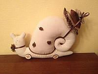 Мягкая игрушка - улитка с цветочками в стиле Тильда