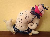 Мягкая игрушка - улитка с узорами в стиле Тильда
