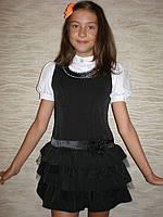 Школьный сарафан для девочки, оборка, фото 1