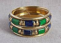 Набор  индийских  браслетов  синего и зеленого цвета из кости. Браслеты