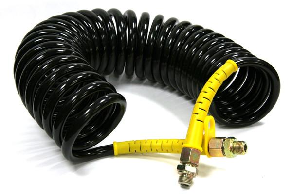 Шланг полиуретановый пневматический 5м.М22-М16 черный с желтыми наконечниками