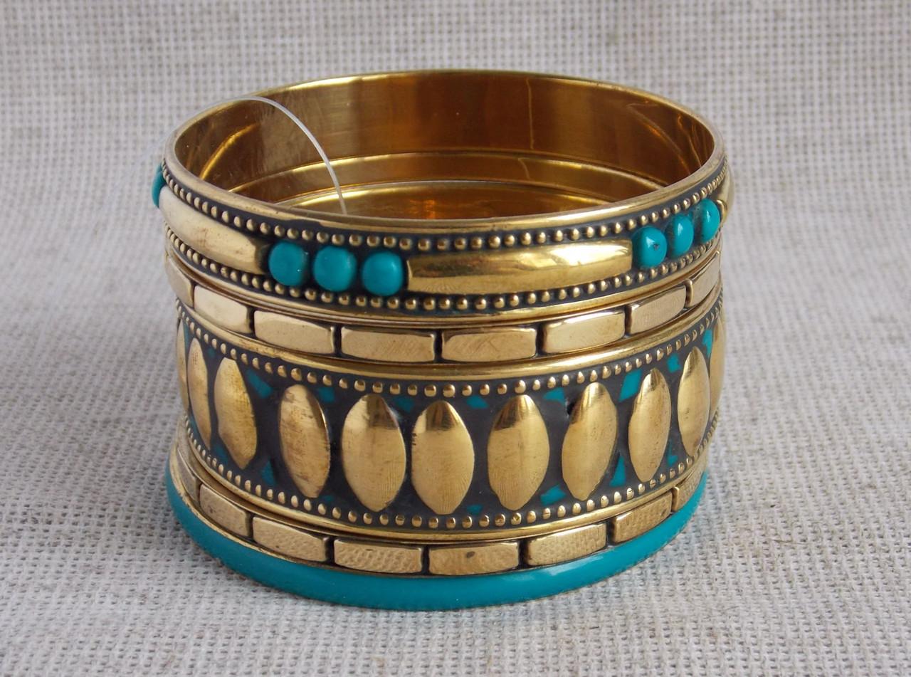 Индийские  браслеты  бирюзового цвета из кости. Браслеты