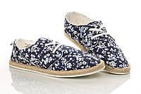 Мокасины синие в белый узор на шнуровке 34 рзм. (Д)
