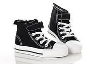 Кеды черные на шнуровке и липучке 24,28 рзм. (М)