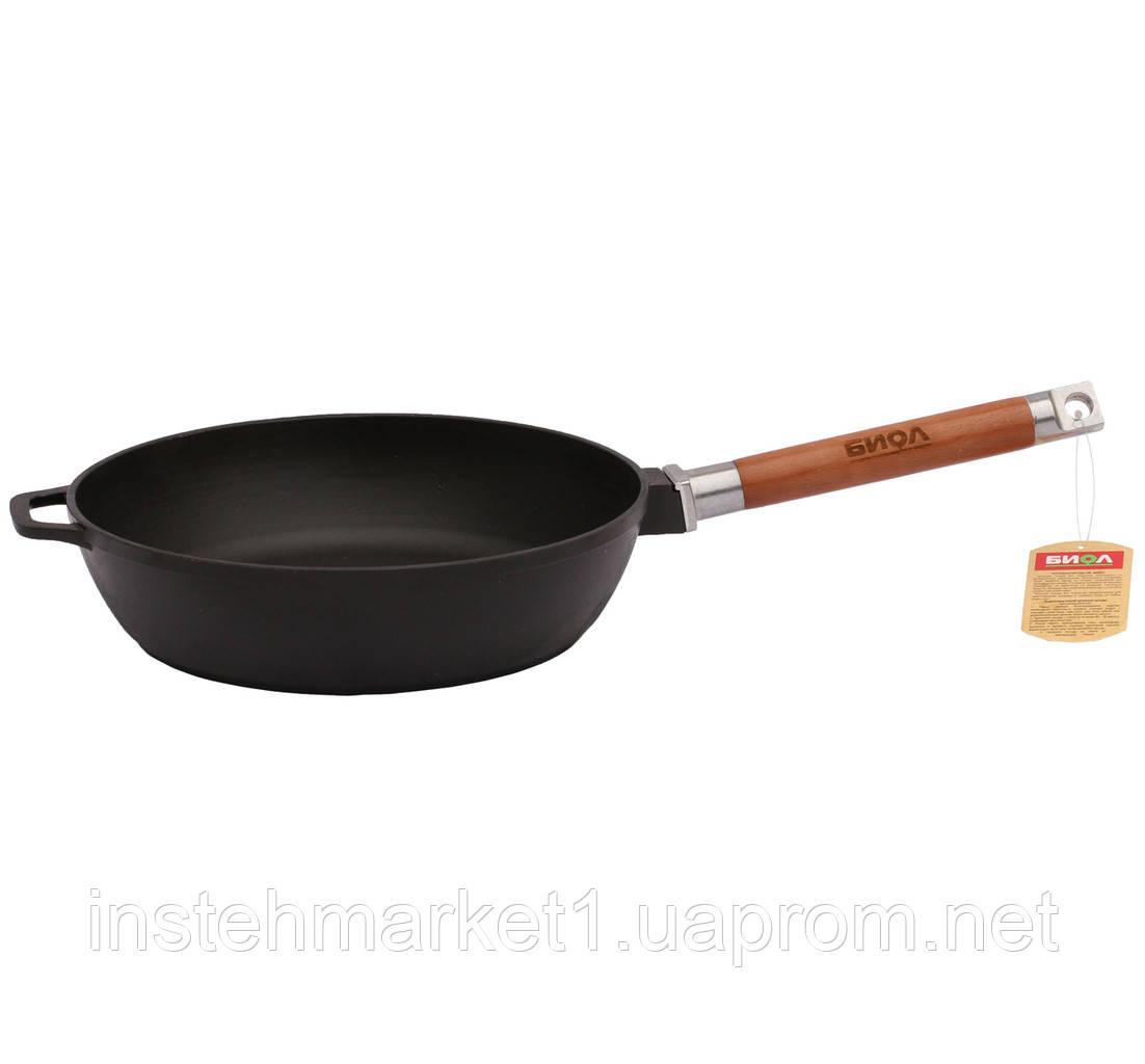 Сковорода БИОЛ Классик 0328 (диаметр 280 мм) чугунная, съёмная деревянная ручка