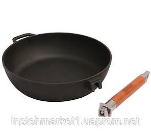 Сковорода БИОЛ Классик 0328 (диаметр 280 мм) чугунная, съёмная деревянная ручка, фото 2