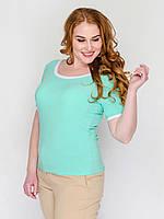 Стильная женская футболка батал из материала «Масло» без застежек р.52,54 мята
