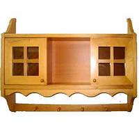 Полка деревянная с раздвижными дверками