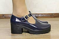 Лакированные кожаные туфли на толстой подошве