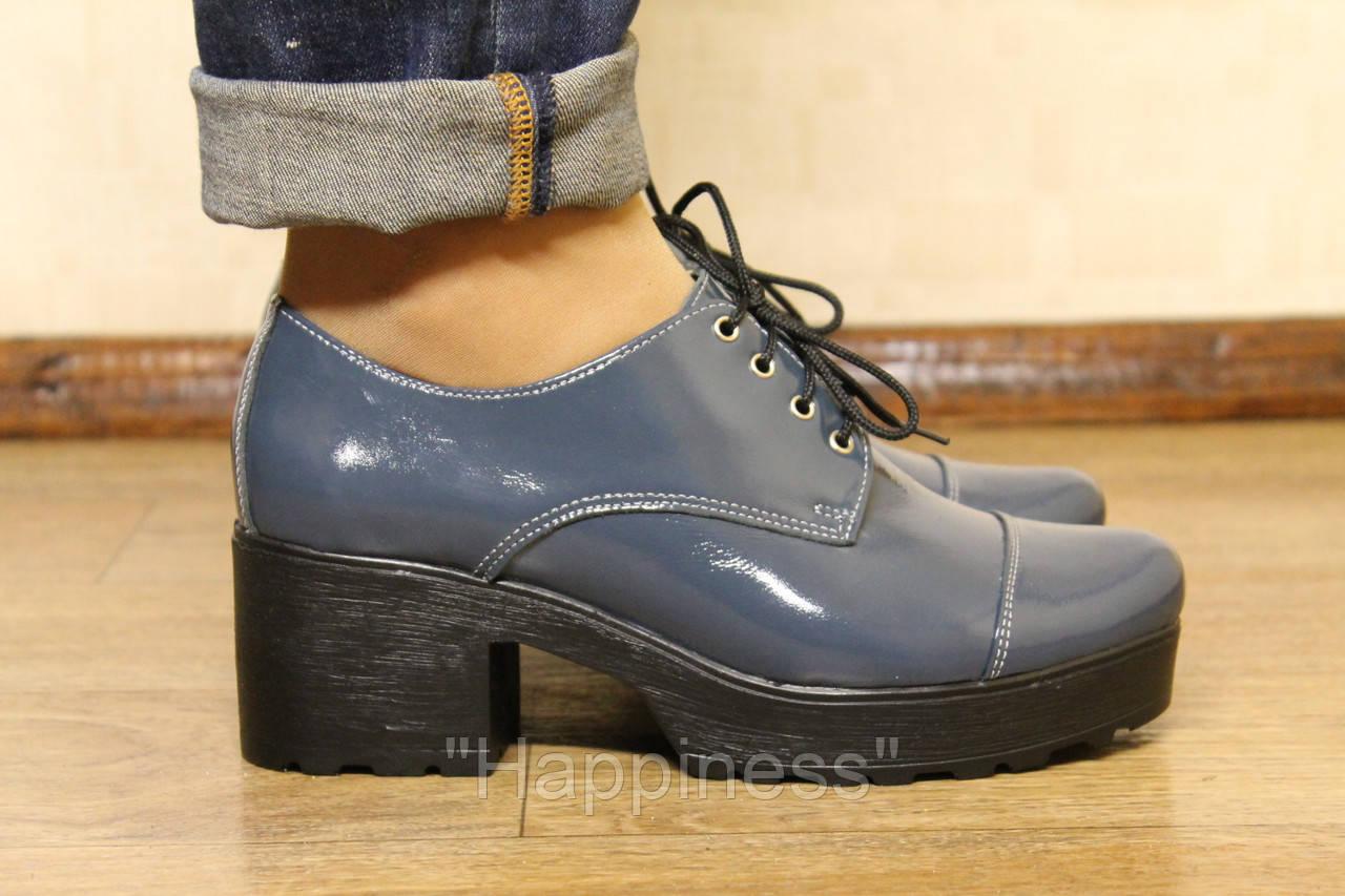 Лакированые кожаные туфли синие