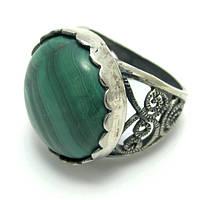 Малахит, мельхиор покрытый серебром, кольцо