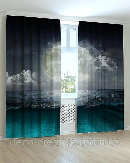 Фотошторы луна над океаном в спальню