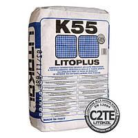 Цементный белый клей для керамики и  мозаики в бассейне LITOPLUS K55 20 кг.