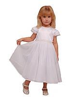 Платье нарядное детское  с подъюбником М -906  рост 98 белое, фото 1
