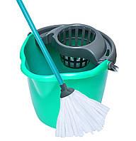 Набор для мытья MOP SET 12л с круглым ведром SPRING, 350 x 290 x 330 мм, лазурный с серым York Y-072050
