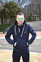 Мужская трикотажная толстовка с капюшоном (трехнитка)  | Синяя