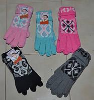 Перчатки женские снежинки с отворотом