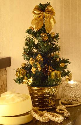 Елка искусственная маленькая украшенная  Золотая   0304 G, фото 2