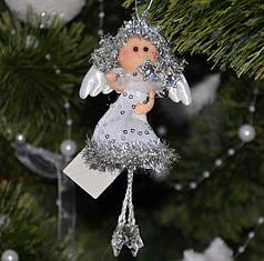 Новогодние украшения Ангелочек  со звездой  серебро 0076