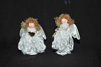 Новогодние украшения Ангелочек   стоящий  вьющееся платье    0262