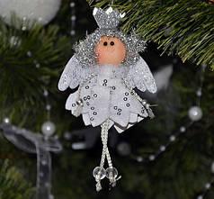 Новогодние украшения Ангелочек  серебро 0073
