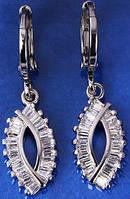 Серьги белая позолота Капля с цирконами (GF222)