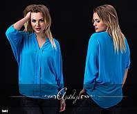Свободная шифоновая блузка голубая