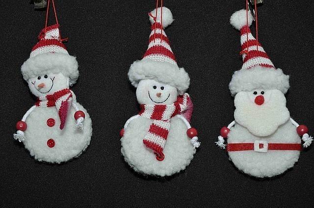 Новогодние украшения  Дед мороз снеговик красн шарф  0271