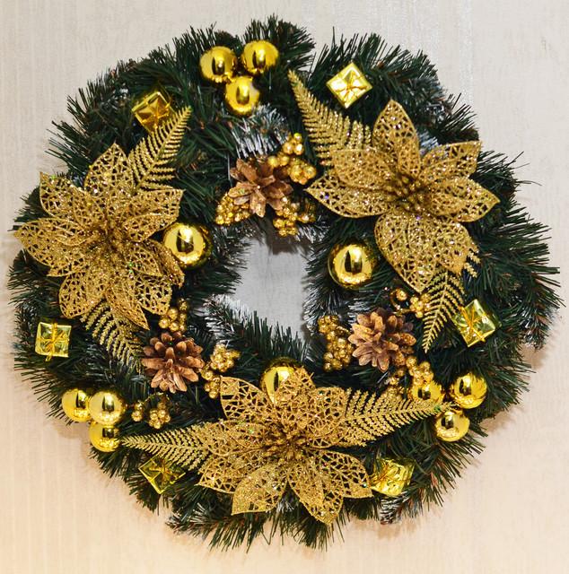 Венок новогодний большой  украшенный Золото 0423 G