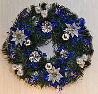Венок новогодний  большой  украшенный Серебро+синий  0423SB