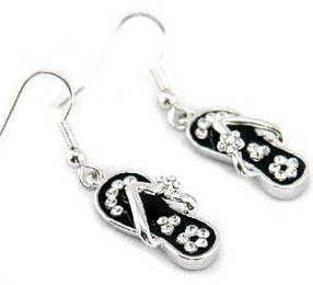 Серьги Dangle Black Slippers Earrings use Swarovski Crystal SE033