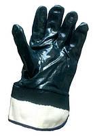 Перчатки хлопчатобумажные с нитриловым покрытием и твердым манжетом.