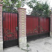 Распашные ворота с калиткой, фото 1