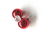 Серьги пуссеты Dior Crystal красные, серьги двойной шарик
