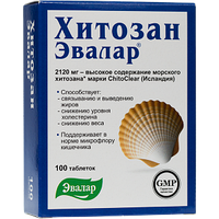 Хитозан-Эвалар, таб. №100 по 0,5 г блистер