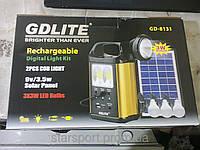 Фонарик с Солнечной Батареей 3 лампочками GDLITE GD-8131