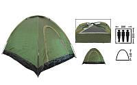 Палатка самораскладывающаяся 3-х местная SY-A-35-O (р-р 2,0х2,0х1,4м, PL, зеленый)