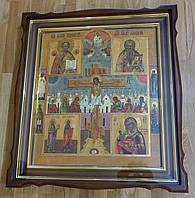 Киот фигурный из ольхи для старинной иконы с внутренней деревянной рамой и золочёными штапиками.