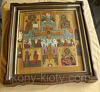 Киот фигурный из ольхи для старинной иконы с внутренней деревянной рамой и золочёными штапиками., фото 3